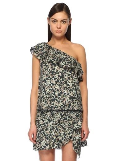 Etoile Isabel Marant Tek Omuz Fırfırlı Çiçekli Bluz Renkli